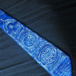 Hedvábná ručně malovaná kravata Modrý orloj