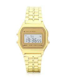 Zegarek cyfrowy w stylu retro - złoty lub srebrny