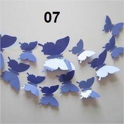 12 samolepilnih 3D metuljev na steni - modre barve