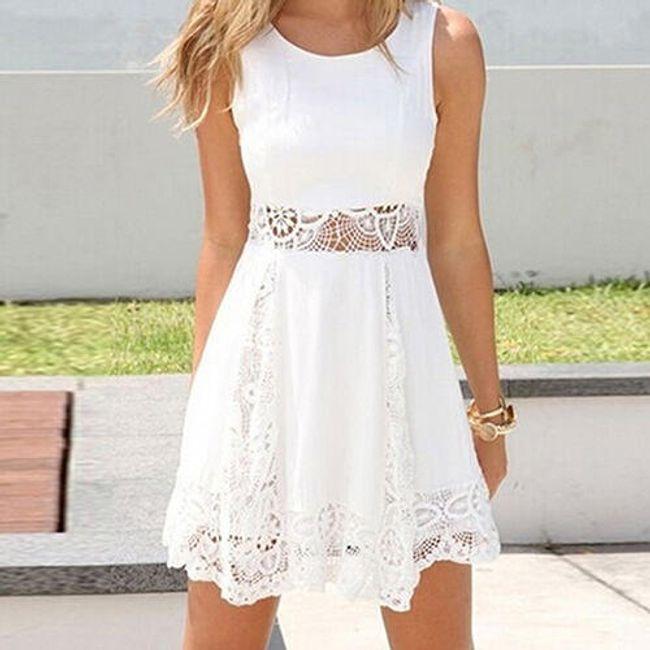 Letní bílé šatičky s krajkou - Velikost č. 5 1