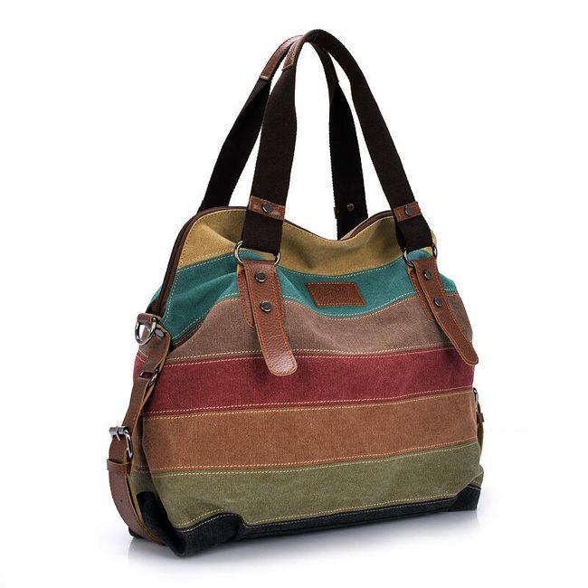 Практичная женская сумочка с разноцветными полосками 1