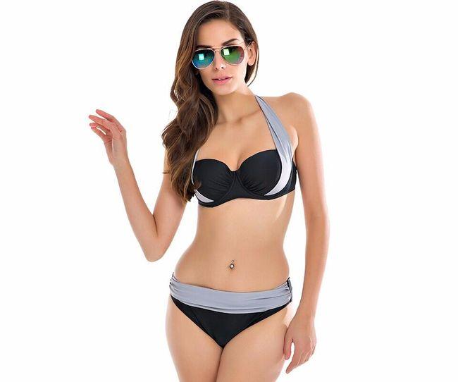 Dámské dvoudílné plavky s vysokým pasem a push-up efektem - gGY, velikost 8 1