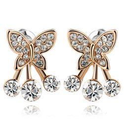 Pillangó fülbevalók átlátszó kövekkel