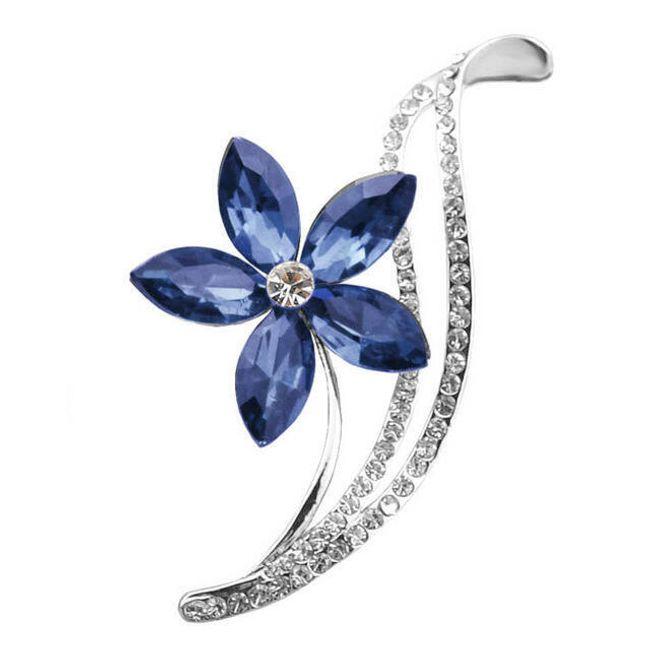 Květinová brož s kamínky 1