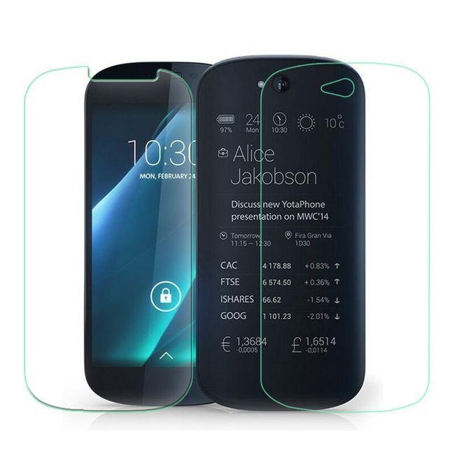 2v1 Tvrzené sklo na displej a ochranná fólie na zadní stranu pro YotaPhone 2 1