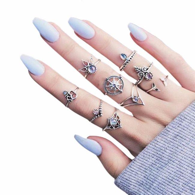 Sada prstýnků s kamínky - 2 barvy 1