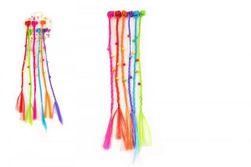 """Sponky / Štipce do vlasov 6ks plast s farebnými vrkôčiky 30cm 2druhy v sáčku """"ZpětVynulovatSave Option RM_00850330"""