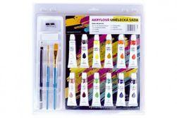 Farby akrylové 12ml 12ks sa štetcami 2ks s blokom s doplnkami na karte 31x31cm RM_22911625