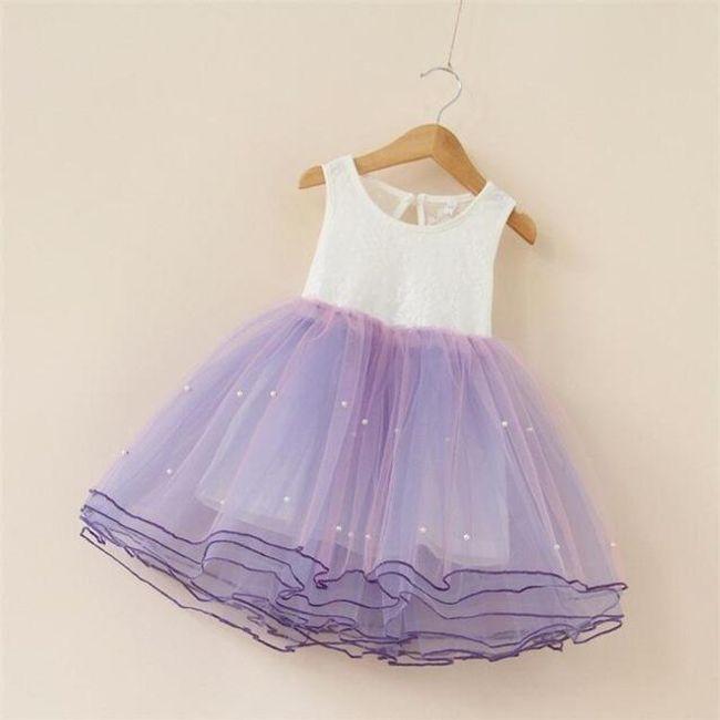 Kouzelné dívčí šatičky s bohatou sukní - Fialová-3 1