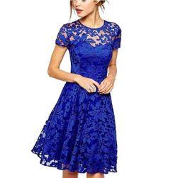 Modna elegancka damska sukienka z koronki - 3 kolory