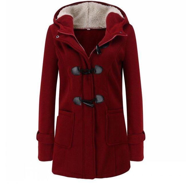 Dámská mikina Bella ve stylu kabátu s knoflíky - 8 barev vínová-M 1