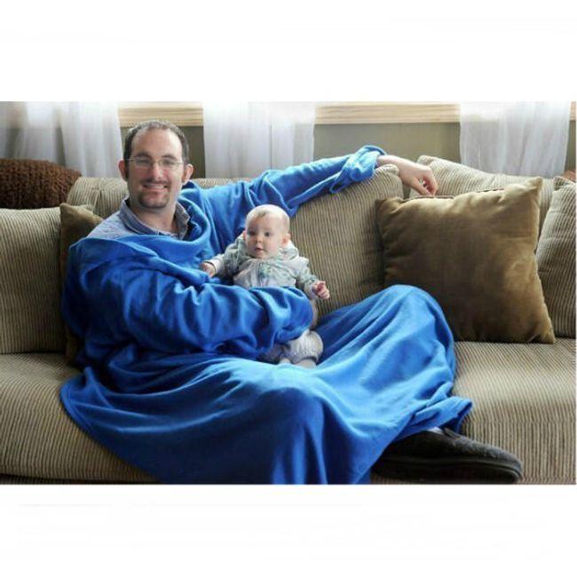 Pohodlná deka s rukávy - modrá 1
