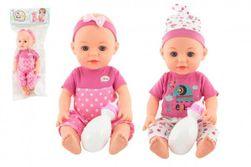 Panenka/miminko 31cm pijící a čůrající pevné tělo s lahvičkou 2 barvy v sáčku RM_00311950