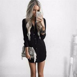 Sukienka koszulowa w kilku kolorach Czarny, rozmiar 5