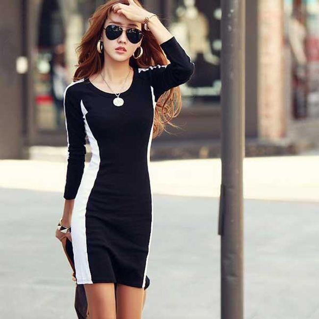 Elegancka czarno-biała wyszczuplająca sukienka 1