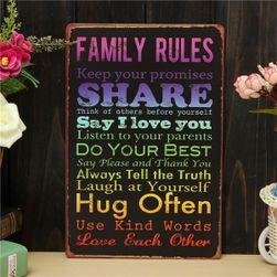 Plechová retro cedule Family rules