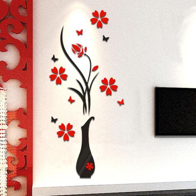 Samolepka na zeď - váza s květinami 1