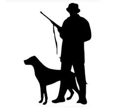 Nalepnica za automobil - lovac sa psom