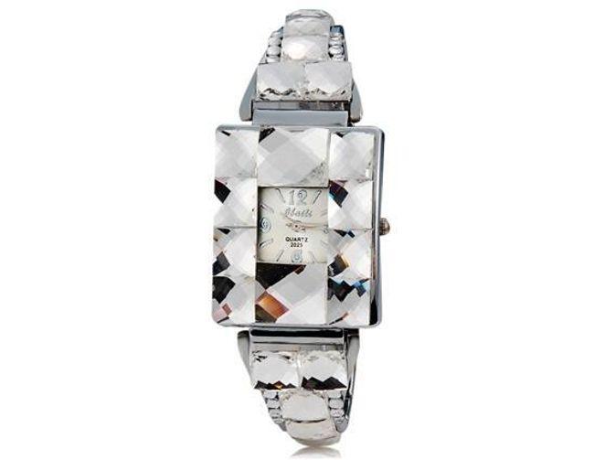 Dámské hodinky s čtvercovým ciferníkem zdobené čirými kameny - 2 barvy ciferníku 1