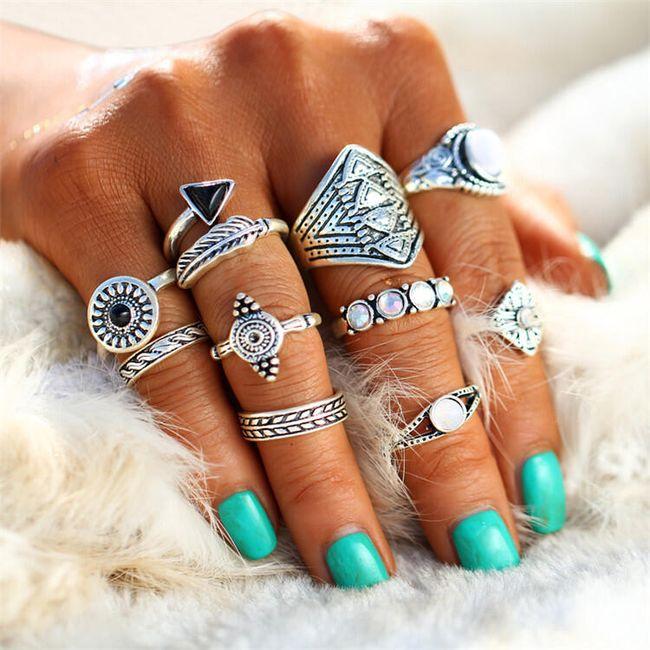 Sada bohémských prstenů - 2 barvy 1