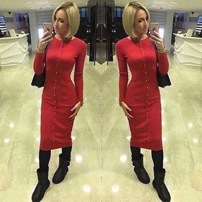 Dámské pletené šaty s knoflíčky - Červená-velikost č. 5 1
