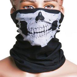 Мултифункционален черен шал с череп