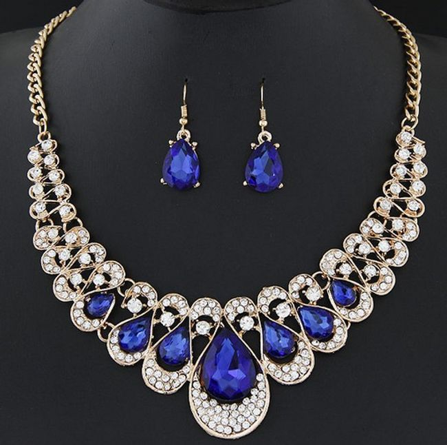 Set ogrlice in uhanov s kamenčki - 6 barv 1