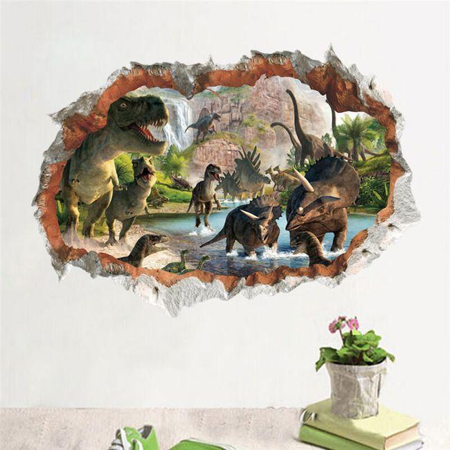 3D nalepnica za zid - Vodopadi sa dinosaurusima 1