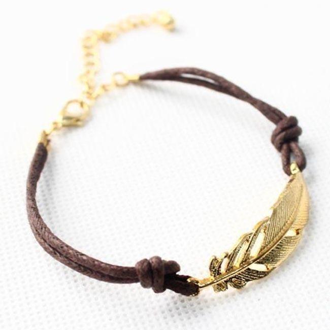 Női tollal díszített karkötő arany színben 1