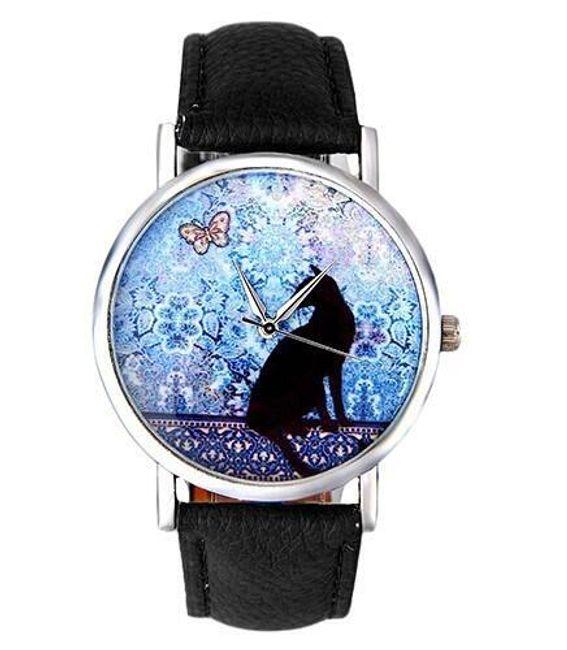Ženska ura z mačko in metuljem 1