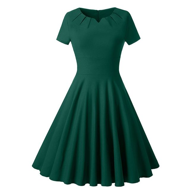 Vintage šaty s volánkovou sukní - Zelená - velikost č. 5 1