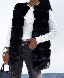 Dámská kožíšková vesta - černá