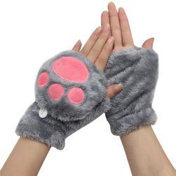 Dámské plyšové rukavice - tlapky