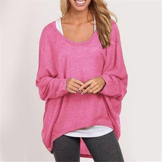 Lehký dámský svetřík v mnoha barvách - Růžová, velikost 2 1