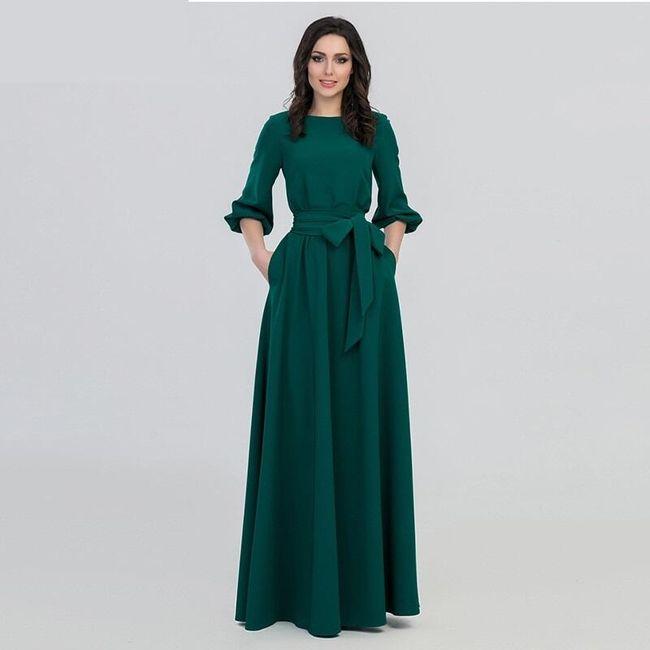 Dugačka zelena haljina sa dužim rukavom 1