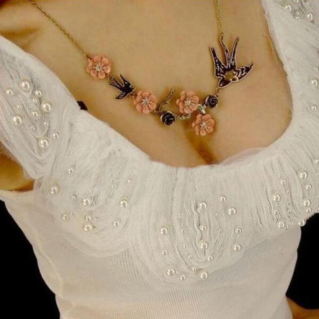 Vintage náhrdelník s vlaštovkami 1