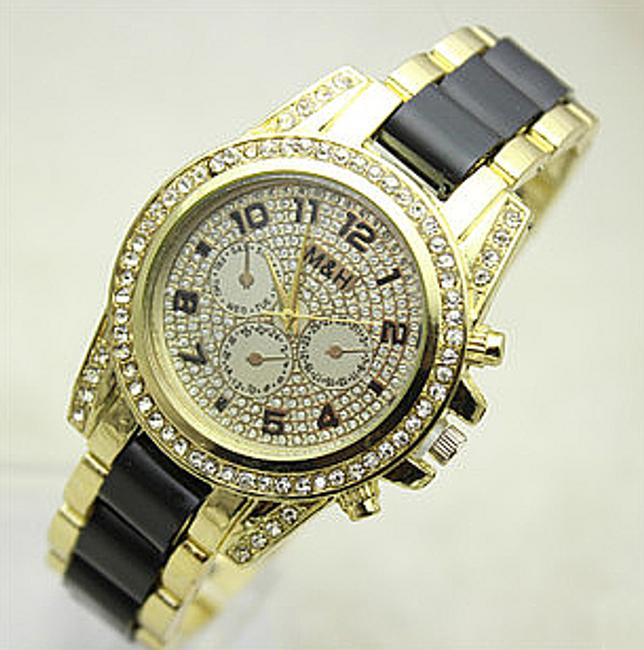 Błyszczący zegarek z kamyczkami i designowym paskiem 1