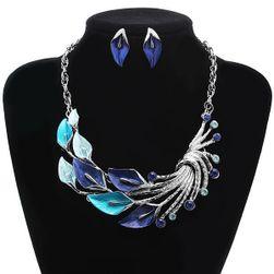 Set de colier și cercei cu motive frunze - Albastru