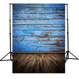 Ateliérové fotopozadí 90 x 150 cm - Modrá odřená prkna