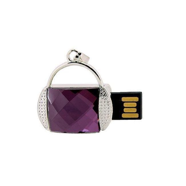 8GB Flashdisk ve tvaru kabelky s velkým fialovým kamenem 1