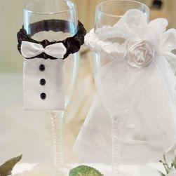 Svatební ozdoby na skleničky - set 2 ks