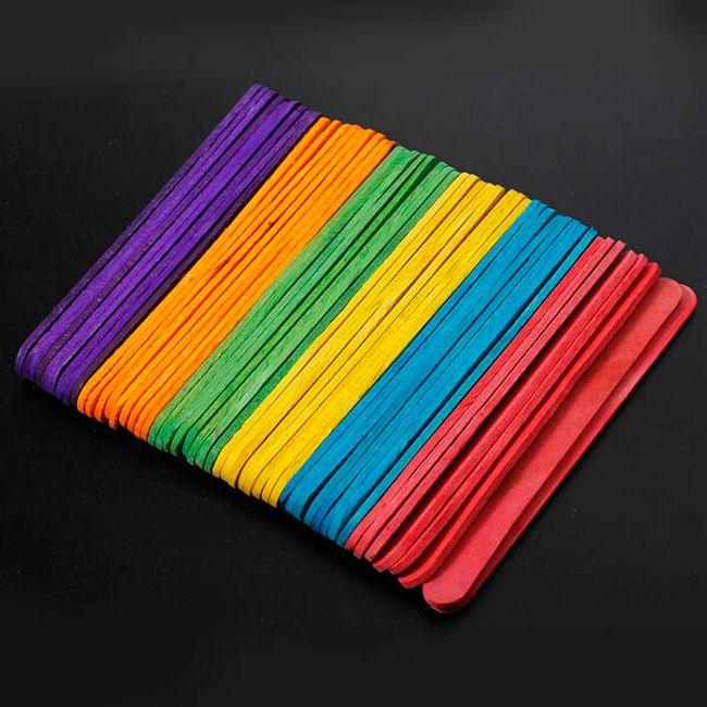 Drveni štapići - 50 komada, razne boje 1