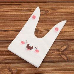 Pungi de plastic pentru dulciuri motiv iepuraş - 50 de bucăţi