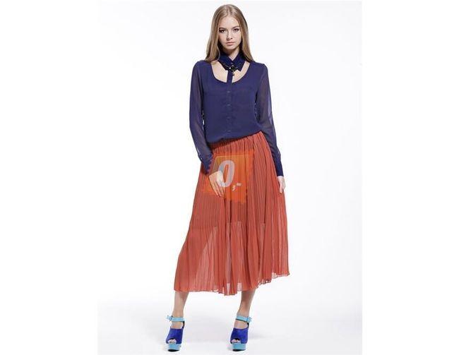 Dámská elastická plně skládaná sukně - oranžová 1