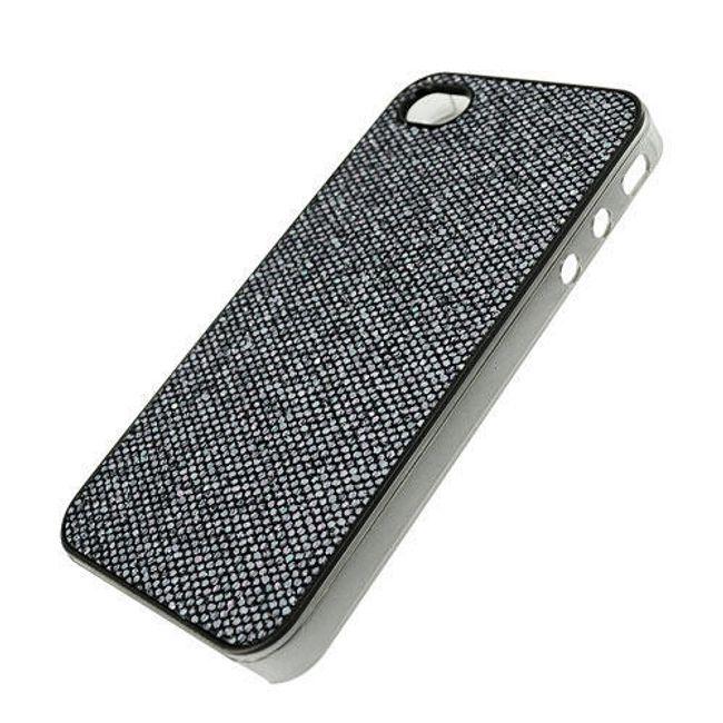 Plastový ochranný kryt na iPhone 4 a 4S - černý motiv diamantu 1