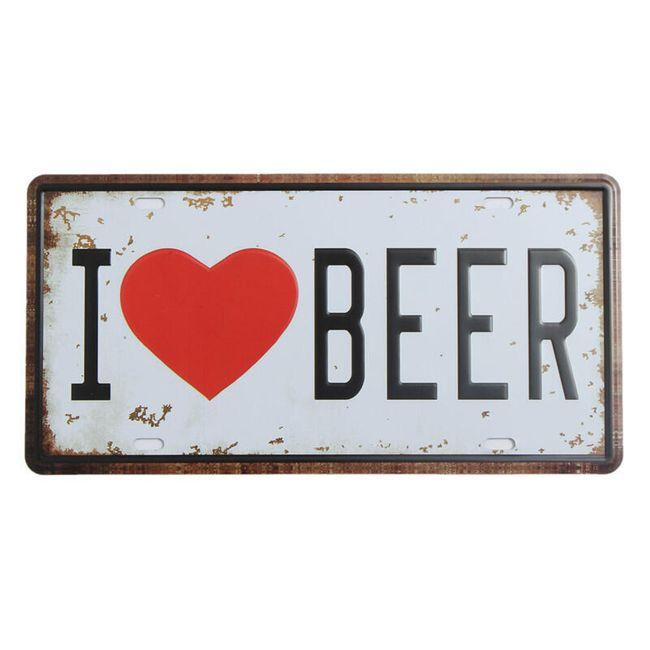 Placă decorativă - I love Beer 1