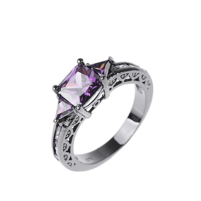 Vintage prsten s krystaly - 4 barvy 1