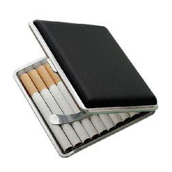 Krabička na cigarety z umělé kůže - černá barva