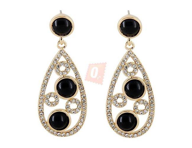 Elegantní náušnice s černými kameny - zlatá barva 1