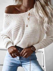 Dámský volný svetr - bílý